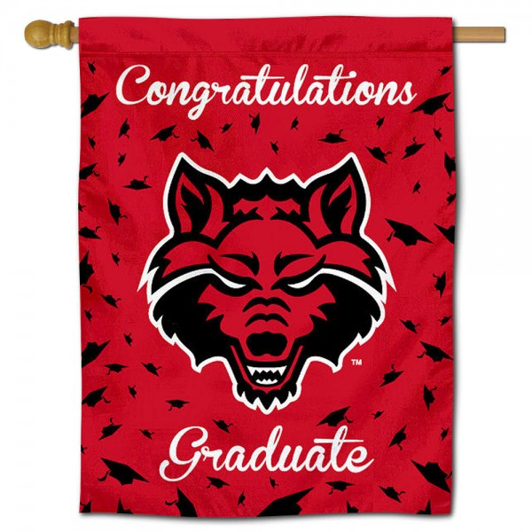 Arkansas State Red Wolves Congratulations Graduate Flag measures 30x40 inches, is made of poly, has a top hanging sleeve, and offers dye sublimated Arkansas State Red Wolves logos. This Decorative Arkansas State Red Wolves Congratulations Graduate House Flag is officially licensed by the NCAA.
