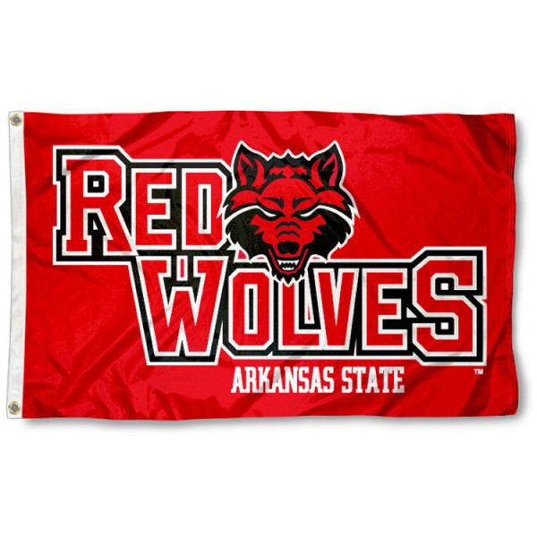 This Arkansas State Red Wolves Flag measures 3'x5', is made of 100% nylon, has quad-stitched sewn flyends, and has two-sided Arkansas State Red Wolves printed logos. Our Arkansas State Red Wolves Flag is officially licensed and all flags for Arkansas State Red Wolves are approved by the NCAA and Same Day UPS Express Shipping is available.