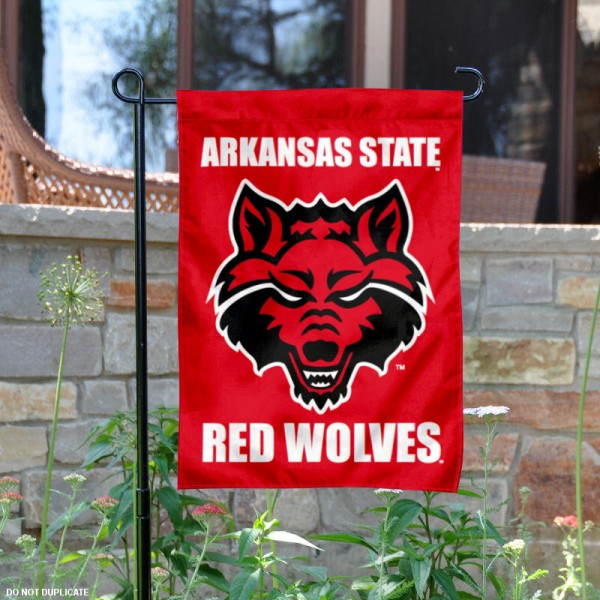 Arkansas State Red Wolves Garden Flag is 13x18 inches in size, is made of 2-layer polyester, screen printed Arkansas State Red Wolves athletic logos and lettering. Available with Same Day Express Shipping, Our Arkansas State Red Wolves Garden Flag is officially licensed and approved by Arkansas State Red Wolves and the NCAA.
