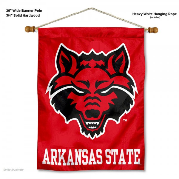 "Arkansas State Red Wolves Wall Banner is constructed of polyester material, measures a large 30""x40"", offers screen printed athletic logos, and includes a sturdy 3/4"" diameter and 36"" wide banner pole and hanging cord. Our Arkansas State Red Wolves Wall Banner is Officially Licensed by the selected college and NCAA."