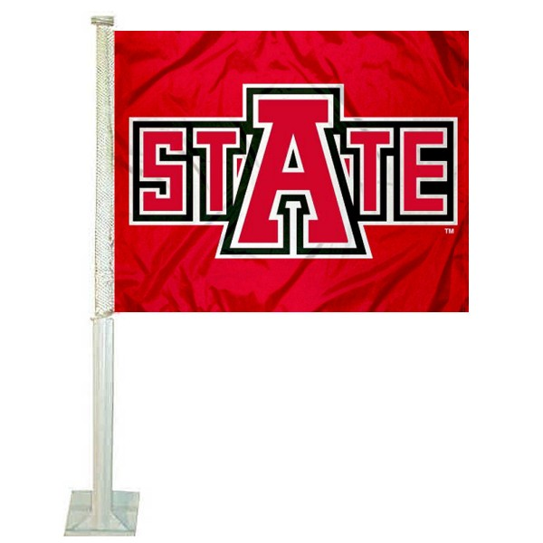 Arkansas State University Car Window Flag measures 12x15 inches, is constructed of sturdy 2 ply polyester, and has dye sublimated school logos which are readable and viewable correctly on both sides. Arkansas State University Car Window Flag is officially licensed by the NCAA and selected university.