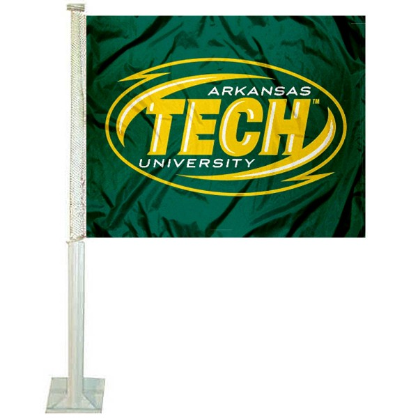 Arkansas Tech Car Window Flag measures 12x15 inches, is constructed of sturdy 2 ply polyester, and has dye sublimated school logos which are readable and viewable correctly on both sides. Arkansas Tech Car Window Flag is officially licensed by the NCAA and selected university.