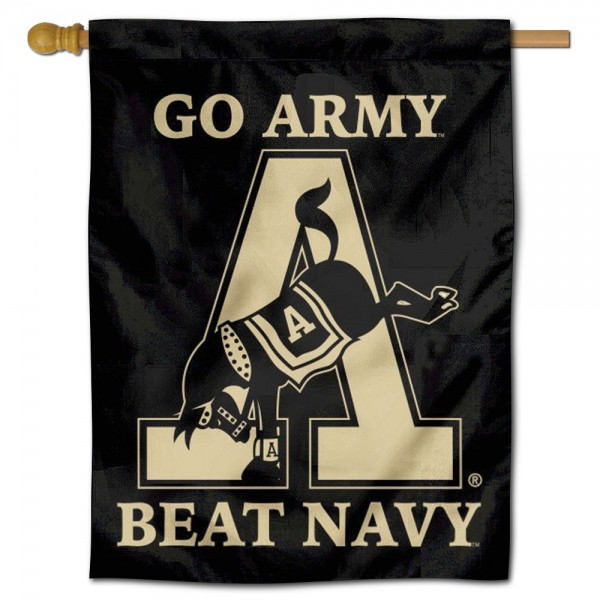 Army Beat Navy Logo Double Sided House Flag is a vertical house flag which measures 30x40 inches, is made of 2 ply 100% polyester, offers screen printed NCAA team insignias, and has a top pole sleeve to hang vertically. Our Army Beat Navy Logo Double Sided House Flag is officially licensed by the selected university and the NCAA.