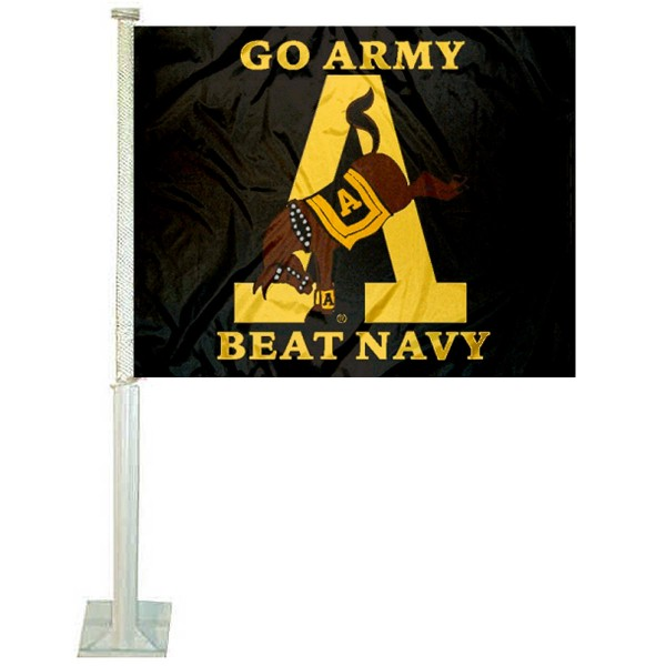 Army beat Navy Mule Car Window Flag measures 12x15 inches, is constructed of sturdy 2 ply polyester, and has dye sublimated school logos which are readable and viewable correctly on both sides. Army beat Navy Mule Car Window Flag is officially licensed by the NCAA and selected university.