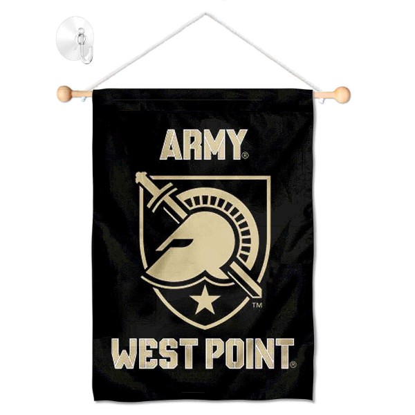"Army Black Knights Banner with Suction Cup kit includes our 13""x18"" garden banner which is made of 2 ply poly with liner and has screen printed licensed logos. Also, a 17"" wide banner pole with suction cup is included so your Army Black Knights Banner with Suction Cup is ready to be displayed with no tools needed for setup. Fast Overnight Shipping is offered and the flag is Officially Licensed and Approved by the selected team."