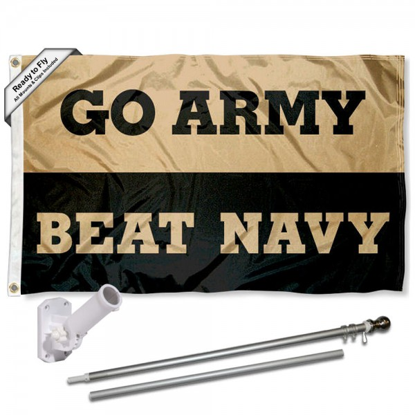 Our Army Black Knights Beat Navy Flag Pole and Bracket Kit includes the flag as shown and the recommended flagpole and flag bracket. The flag is made of nylon, has quad-stitched flyends, and the NCAA Licensed team logos are double sided screen printed. The flagpole and bracket are made of rust proof aluminum and includes all hardware so this kit is ready to install and fly.