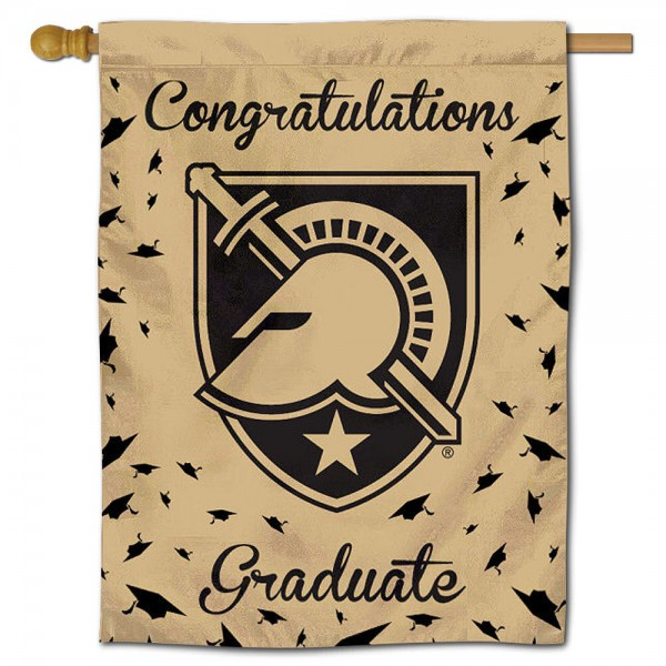Army Black Knights Congratulations Graduate Flag measures 30x40 inches, is made of poly, has a top hanging sleeve, and offers dye sublimated Army Black Knights logos. This Decorative Army Black Knights Congratulations Graduate House Flag is officially licensed by the NCAA.