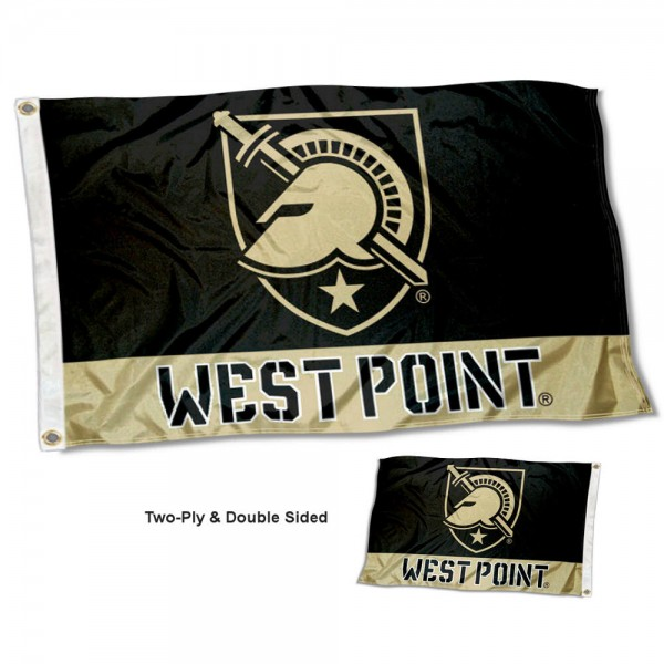 Army Black Knights Double Sided Flag measures 3'x5', is made of 2 layer 100% polyester, has quadruple stitched flyends for durability, and is readable correctly on both sides. Our Army Black Knights Double Sided Flag is officially licensed by the university, school, and the NCAA.