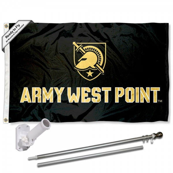 Our Army Black Knights Flag Pole and Bracket Kit includes the flag as shown and the recommended flagpole and flag bracket. The flag is made of polyester, has quad-stitched flyends, and the NCAA Licensed team logos are double sided screen printed. The flagpole and bracket are made of rust proof aluminum and includes all hardware so this kit is ready to install and fly.