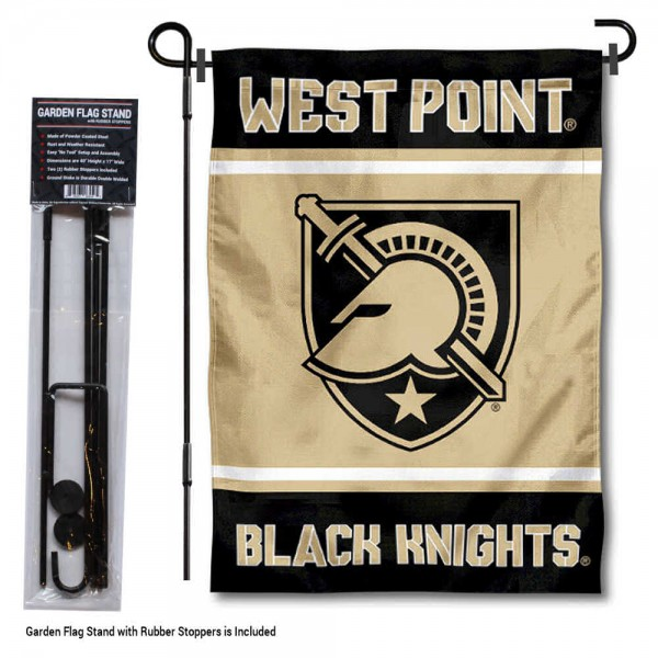 "Army Black Knights Garden Flag and Pole Stand Holder kit includes our 13""x18"" garden banner which is made of 2 ply poly with liner and has screen printed licensed logos. Also, a 40""x17"" inch garden flag stand is included so your Army Black Knights Garden Flag and Pole Stand Holder is ready to be displayed with no tools needed for setup. Fast Overnight Shipping is offered and the flag is Officially Licensed and Approved by the selected team."