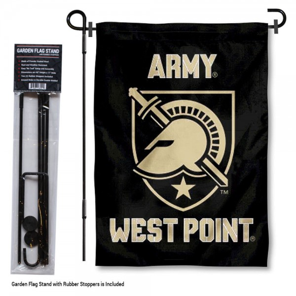 "Army Black Knights Garden Flag and Stand kit includes our 13""x18"" garden banner which is made of 2 ply poly with liner and has screen printed licensed logos. Also, a 40""x17"" inch garden flag stand is included so your Army Black Knights Garden Flag and Stand is ready to be displayed with no tools needed for setup. Fast Overnight Shipping is offered and the flag is Officially Licensed and Approved by the selected team."