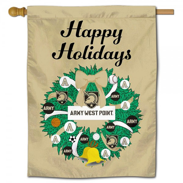 Army Black Knights Happy Holidays Banner Flag measures 30x40 inches, is made of poly, has a top hanging sleeve, and offers dye sublimated Army Black Knights logos. This Decorative Army Black Knights Happy Holidays Banner Flag is officially licensed by the NCAA.