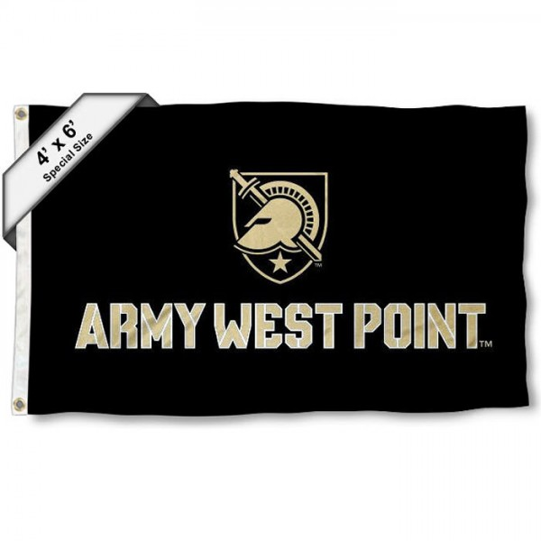Army Black Knights Large 4x6 Flag measures 4x6 feet, is made thick woven polyester, has quadruple stitched flyends, two metal grommets, and offers screen printed NCAA Army Black Knights Large athletic logos and insignias. Our Army Black Knights Large 4x6 Flag is officially licensed by Army Black Knights and the NCAA.