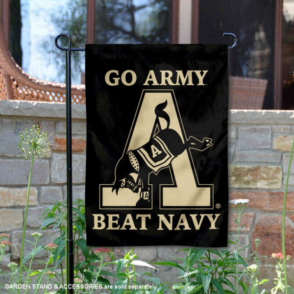 Army Black Knights Mule Mascot Garden Flag is 13x18 inches in size, is made of 2-layer polyester, screen printed university athletic logos and lettering, and is readable and viewable correctly on both sides. Available with same day shipping, our Army Black Knights Mule Mascot Garden Flag is officially licensed and team approved by the university and the NCAA.