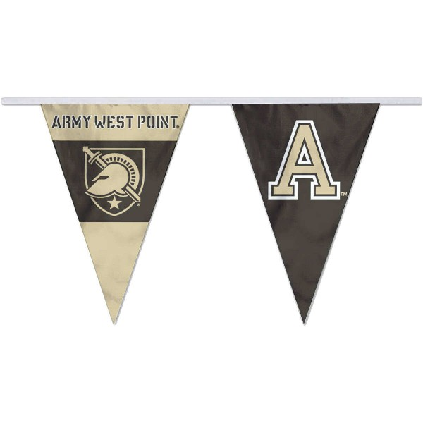 Army Black Knights Pennant String Flags are 35 feet in total length, are made of polyester, includes 12x8 inch streamers, and are screen printed. Each is Offically Licensed.