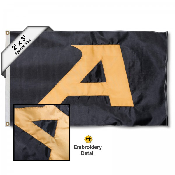 Army Black Knights Small 2'x3' Flag measures 2x3 feet, is made of 100% nylon, offers quadruple stitched flyends, has two brass grommets, and offers embroidered Army Black Knights logos, letters, and insignias. Our 2x3 foot flag is Officially Licensed by the selected university.