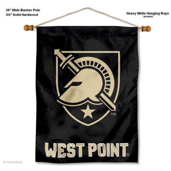 "Army Black Knights Wall Banner is constructed of polyester material, measures a large 30""x40"", offers screen printed athletic logos, and includes a sturdy 3/4"" diameter and 36"" wide banner pole and hanging cord. Our Army Black Knights Wall Banner is Officially Licensed by the selected college and NCAA."