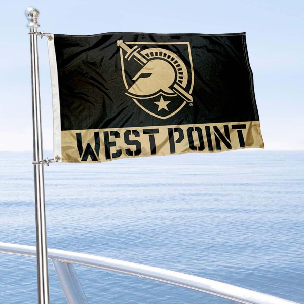Army Black Knights West Point Boat Flag is 12x18 inches, nylon, offers quadruple stitched flyends for durability, has two metal grommets, and is double sided. Our mini flags for Army Black Knights are licensed by the university and NCAA and can be used as a boat flag, motorcycle flag, golf cart flag, or ATV flag.