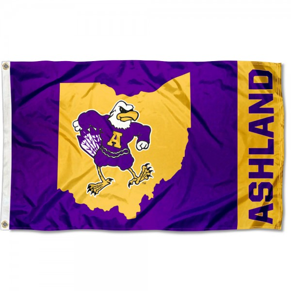 Ashland Eagles State of Ohio Flag is made of 100% nylon, offers quad stitched flyends, measures 3x5 feet, has two metal grommets, and is viewable from both side with the opposite side being a reverse image. Our Ashland Eagles State of Ohio Flag is officially licensed by the selected college and NCAA
