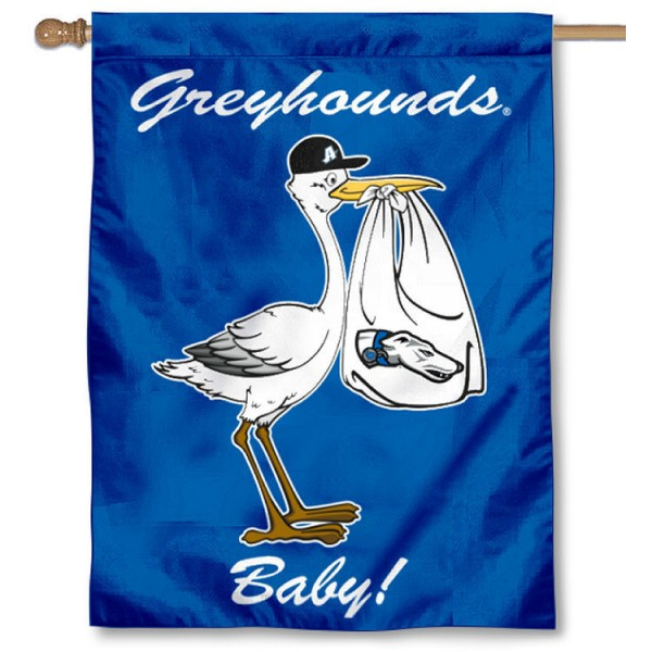Assumption College Greyhounds New Baby Flag measures 30x40 inches, is made of poly, has a top hanging sleeve, and offers dye sublimated Assumption College Greyhounds logos. This Decorative Assumption College Greyhounds New Baby House Flag is officially licensed by the NCAA.