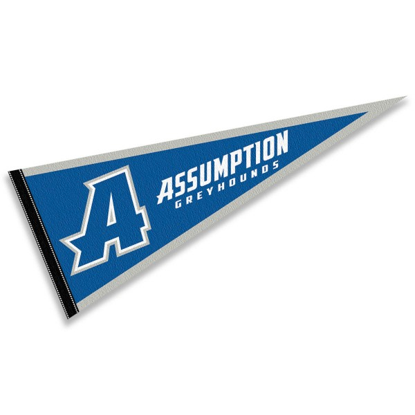 Assumption College Greyhounds Pennant consists of our full size sports pennant which measures 12x30 inches, is constructed of felt, is single sided imprinted, and offers a pennant sleeve for insertion of a pennant stick, if desired. This Assumption College Greyhounds Pennant Decorations is Officially Licensed by the selected university and the NCAA.