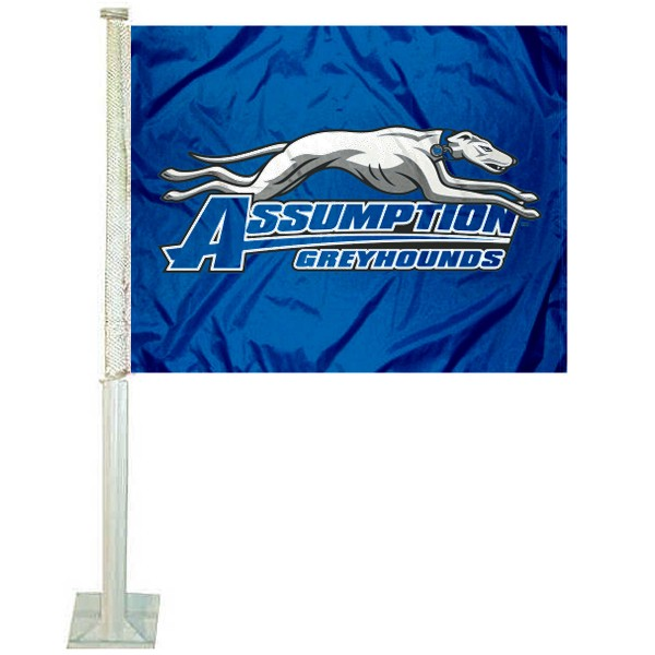 Assumption Greyhounds Logo Car Flag measures 12x15 inches, is constructed of sturdy 2 ply polyester, and has screen printed school logos which are readable and viewable correctly on both sides. Assumption Greyhounds Logo Car Flag is officially licensed by the NCAA and selected university.