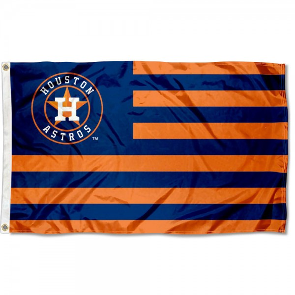 Astros Nation Flag measures 3x5 feet, is made of polyester, offers quad-stitched flyends, has two metal grommets, and is viewable from both sides with a reverse image on the opposite side. Our Astros Nation Flag is Genuine MLB Merchandise.