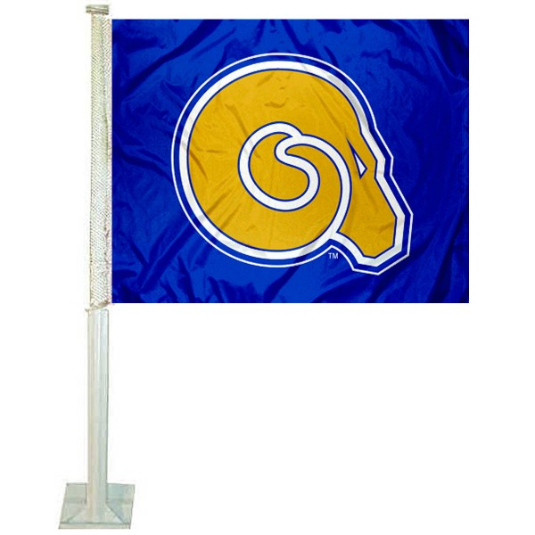 ASU Golden Rams Car Flag measures 12x15 inches, is constructed of sturdy 2 ply polyester, and has screen printed school logos which are readable and viewable correctly on both sides. ASU Golden Rams Car Flag is officially licensed by the NCAA and selected university.