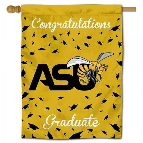ASU Hornets Congratulations Graduate Flag measures 30x40 inches, is made of poly, has a top hanging sleeve, and offers dye sublimated ASU Hornets logos. This Decorative ASU Hornets Congratulations Graduate House Flag is officially licensed by the NCAA.