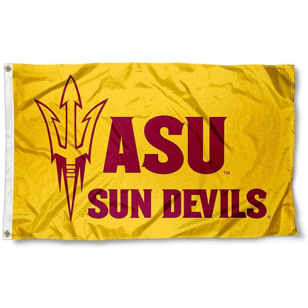 ASU New Logo Gold Flag measures 3'x5', is made of 100% poly, has quadruple stitched sewing, two metal grommets, and has double sided Team University logos. Our ASU New Logo Gold Flag is officially licensed by the selected university and the NCAA.