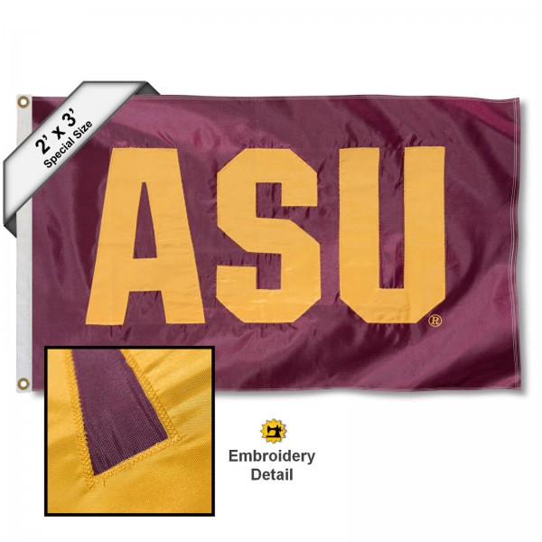 ASU Small 2'x3' Flag measures 2x3 feet, is made of 100% nylon, offers quadruple stitched flyends, has two brass grommets, and offers embroidered ASU logos, letters, and insignias. Our ASU Small 2'x3' Flag is Officially Licensed by the selected university.