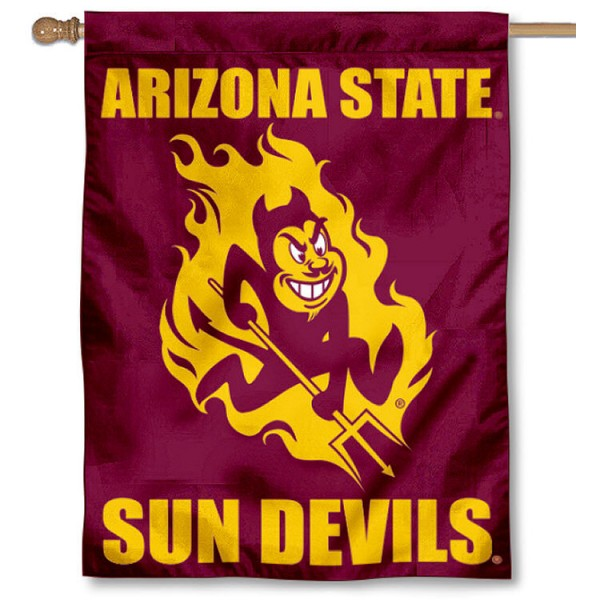 ASU Sun Devil House Flag is a vertical house flag which measures 30x40 inches, is made of 2 ply 100% polyester, offers dye sublimated NCAA team insignias, and has a top pole sleeve to hang vertically. Our ASU Sun Devil House Flag is officially licensed by the selected university and the NCAA