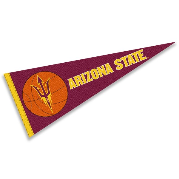 ASU Sun Devils Basketball Pennant consists of our full size sports pennant which measures 12x30 inches, is constructed of felt, is single sided imprinted, and offers a pennant sleeve for insertion of a pennant stick, if desired. This ASU Sun Devils Pennant Decorations is Officially Licensed by the selected university and the NCAA.