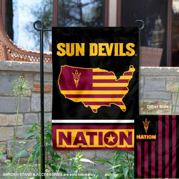 ASU Sun Devils Garden Flag with USA Country Stars and Stripes is 13x18 inches in size, is made of 2-layer polyester, screen printed logos and lettering. Available with Same Day Express Shipping, Our Nation Yard Flag is officially licensed and approved by the NCAA.