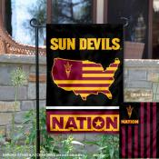 ASU Sun Devils Garden Flag with USA Country Stars and Stripes