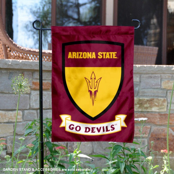 ASU Sun Devils Go Devils Shield Garden Flag is 13x18 inches in size, is made of thick blockout polyester, screen printed university athletic logos and lettering, and is readable and viewable correctly on both sides. Available same day shipping, our ASU Sun Devils Go Devils Shield Garden Flag is officially licensed and approved by the university and the NCAA.