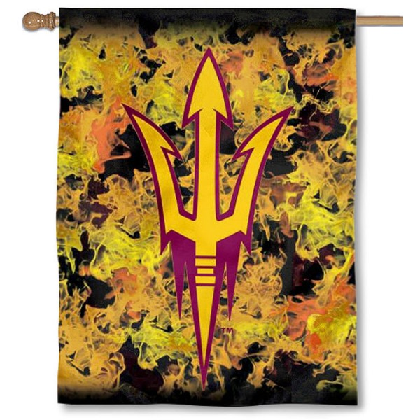 ASU Sun Devils Helmet Flames Banner Flag is a vertical house flag which measures 30x40 inches, is made of 2 ply 100% polyester, offers dye sublimated NCAA team insignias, and has a top pole sleeve to hang vertically. Our ASU Sun Devils Helmet Flames Banner Flag is officially licensed by the selected university and the NCAA.