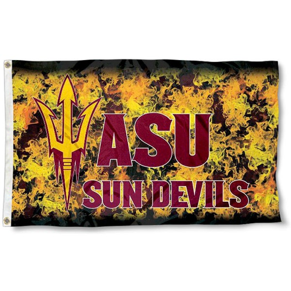 ASU Sun Devils Helmet Flames Flag measures 3'x5', is made of 100% poly, has quadruple stitched sewing, two metal grommets, and has double sided Team University logos. Our ASU Sun Devils 3x5 Flag is officially licensed by the selected university and the NCAA.