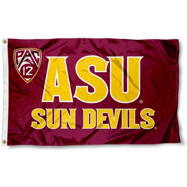 ASU Sun Devils Pac 12 Logo Flag measures 3x5 feet, is made of 100% polyester, offers quadruple stitched flyends, has two metal grommets, and offers screen printed NCAA team logos and insignias. Our ASU Sun Devils Pac 12 Logo Flag is officially licensed by the selected university and NCAA.