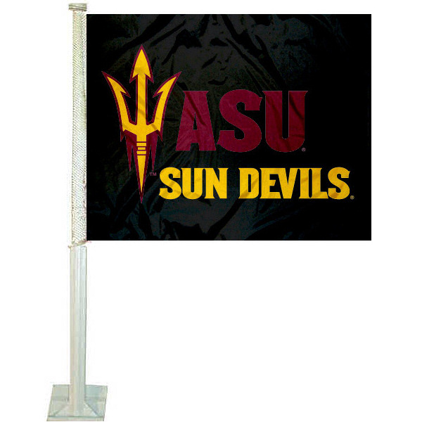 ASU Sun Devils Pitchfork Car Flag measures 12x15 inches, is constructed of sturdy 2 ply polyester, and has screen printed school logos which are readable and viewable correctly on both sides. ASU Sun Devils Pitchfork Car Flag is officially licensed by the NCAA and selected university.