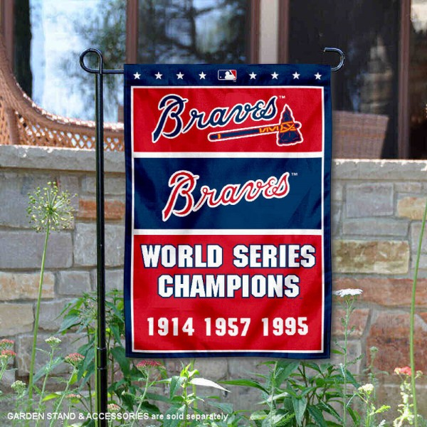 Atlanta Braves 3-Time World Series Champions Garden Flag is 12.5x18 inches in size, is made of 2-ply polyester, and has two sided screen printed logos and lettering. Available with Express Next Day Shipping, our Atlanta Braves 3-Time World Series Champions Garden Flag is MLB Genuine Merchandise and is double sided.