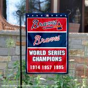 Atlanta Braves 3-Time World Series Champions Garden Flag