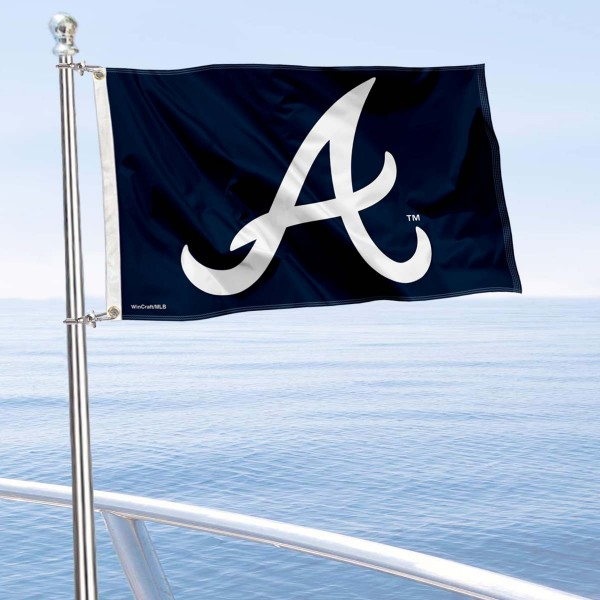 """Our Atlanta Braves Boat and Nautical Flag is 12""""x18"""", made of three-ply poly, has a solid header with two metal grommets, and is double sided. This Boat and Nautical Flag for Atlanta Braves is Officially Licensed by the MLB and can also be used as a motorcycle flag, boat flag, golf cart flag, or recreational flag."""