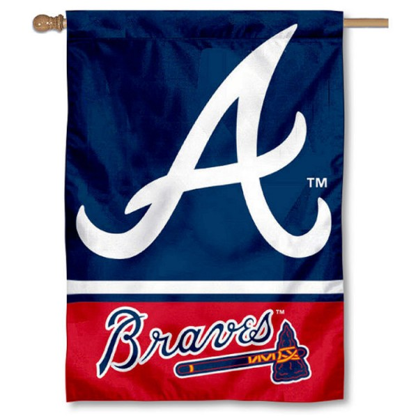 Atlanta Braves Double Sided House Flag is screen printed with Atlanta Braves logos, is made of 2-ply 100% polyester, and is two sided and double sided. Our banners measure 28x40 inches and hang vertically with a top pole sleeve to insert your banner pole or flagpole.