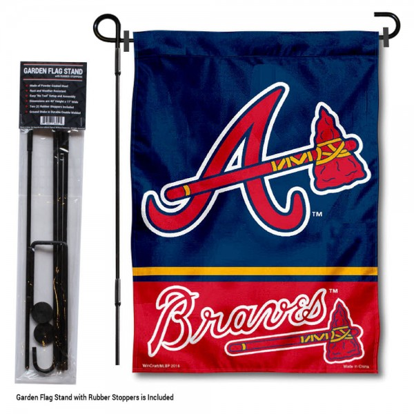"Atlanta Braves Logo Garden Flag and Stand kit includes our 13""x18"" garden banner which is made of 2 ply poly with liner and has screen printed licensed logos. Also, a 40""x17"" inch garden flag stand is included so your Atlanta Braves Logo Garden Flag and Stand is ready to be displayed with no tools needed for setup. Fast Overnight Shipping is offered and the flag is Officially Licensed and Approved by the selected team."