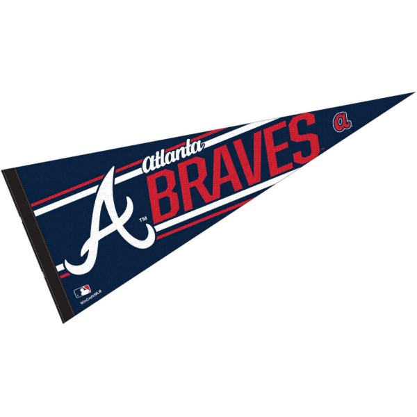 This Atlanta Braves Pennant measures 12x30 inches, is constructed of felt, and is single sided screen printed with the Atlanta Braves logo and insignia. Each Atlanta Braves Pennant is a MLB Genuine Merchandise product.