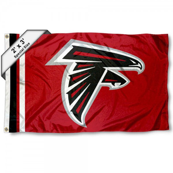 Atlanta Falcons 2x3 Feet Flag measures 2'x3', is made polyester, has quadruple stitched flyends, two metal grommets, and offers screen printed NFL Atlanta Falcons logos and insignias. Our Atlanta Falcons 2x3 Foot Flag is NFL Officially Licensed and approved.
