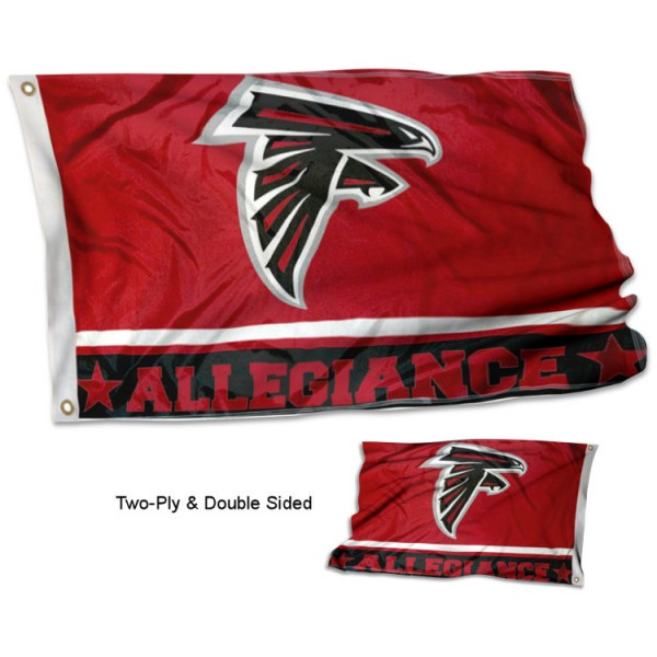 Atlanta Falcons Allegiance Flag measures 3'x5', is made of 2-ply double sided polyester with liner, has quadruple stitched sewing, two metal grommets, and has two sided team logos. Our Atlanta Falcons Allegiance Flag is officially licensed by the selected team and the NFL and is available with overnight express shipping.
