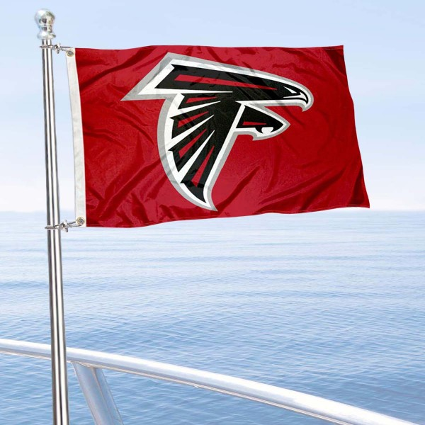 "Our Atlanta Falcons Boat and Nautical Flag is 12""x18"", made of three-ply poly, has a solid header with two metal grommets, and is double sided. This Boat and Nautical Flag for Atlanta Falcons is Officially Licensed by the NFL and can also be used as a motorcycle flag, boat flag, golf cart flag, or recreational flag."