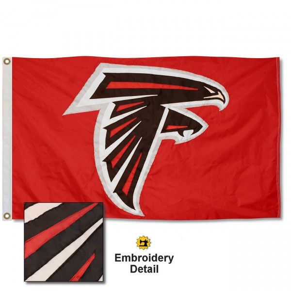 This Atlanta Falcons Embroidered Nylon Flag is double sided, made of nylon, 3'x5', has two metal grommets, indoor or outdoor, and four-stitched fly ends. These Atlanta Falcons Embroidered Nylon Flags are Officially Approved the Atlanta Falcons and NFL.